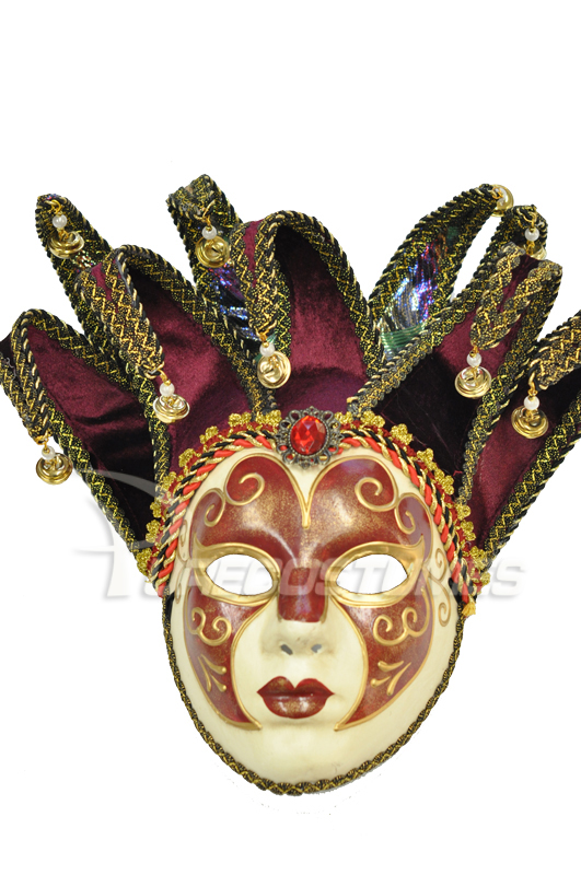 Jolly Paper-Mache Full Mask (Maroon) コスチューム ハロウィン コスプレ 衣装 仮装 面白い ウィッグ かつら マスク 仮面 学園祭 文化祭 学祭 大学祭 高校 イベント