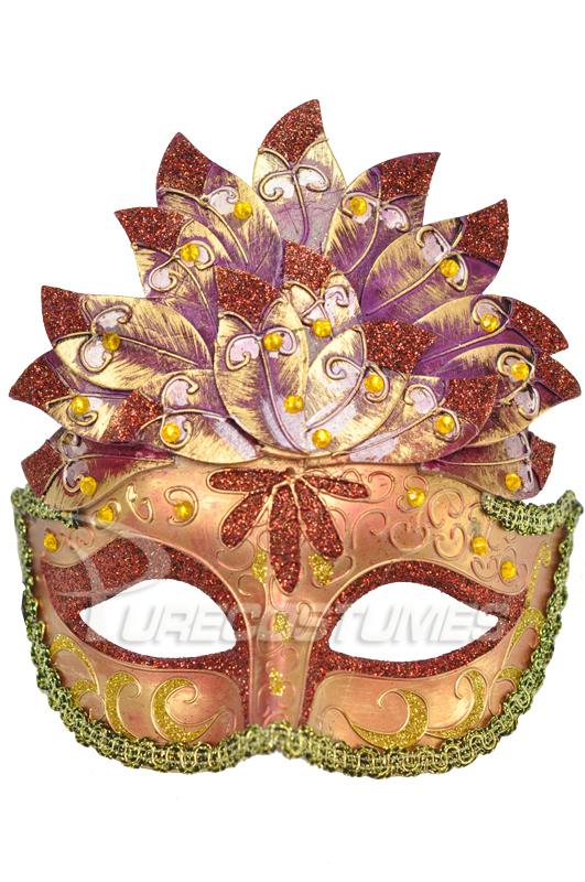 Colombina Leaf ベネチアンマスク (Maroon) コスチューム ハロウィン コスプレ 衣装 仮装 面白い ウィッグ かつら マスク 仮面 学園祭 文化祭 学祭 大学祭 高校 イベント