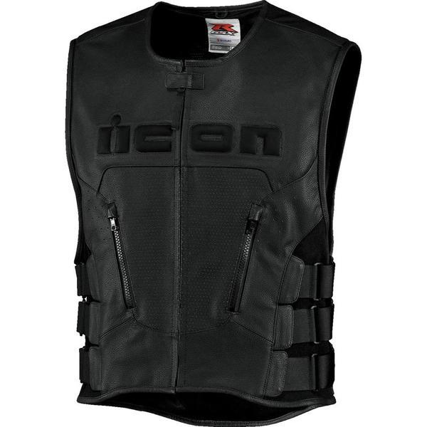 アイコン Icon Regulator Vest バイク用品 メンズ バイクウェア モトクロス レザージャケット 革ジャン ライダースジャケット