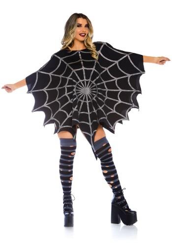 ブラック Glitter Spider Web Women's Poncho コスチューム クリスマス ハロウィン レディース コスプレ 衣装 女性 仮装 女性用 イベント パーティ ハロウィーン 学芸会