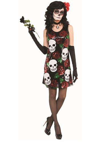 Women's Sequined Day of the Dead Dress クリスマス ハロウィン レディース コスプレ 衣装 女性 仮装 女性用 イベント パーティ ハロウィーン 学芸会