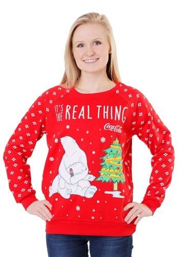 Coca Cola Polar Bear Light Up Juniors Sweatshirt クリスマス ハロウィン レディース コスプレ 衣装 女性 仮装 女性用 イベント パーティ ハロウィーン 学芸会