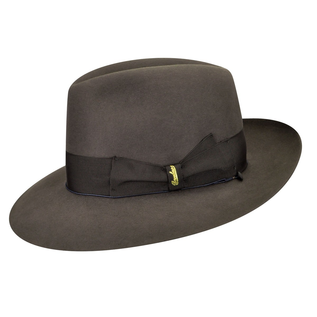 Borsalino 111147 Qualita Superiore Fur Felt Fedora Brown Grey フェドラハット 帽子 Brown Grey