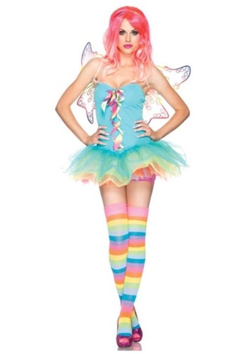 コスプレ ハロウィン セクシーRAINBOW 妖精 フェアリー 大人用 女性用 衣装 ドレス ワンピース 衣装 学園祭 文化祭 コスチューム 仮装 変装