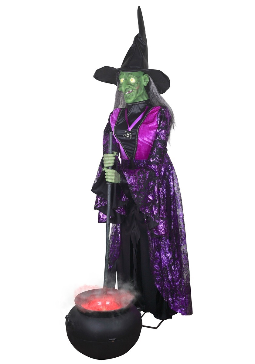 LIFESIZE ANIMATED WITCH WITH MISTING CAULDRON クリスマス ハロウィン コスプレ コスチューム 仮装