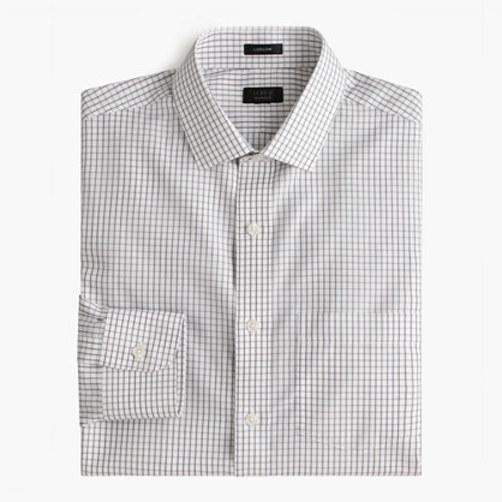 Ludlow Traveler shirt in pewter check pewter