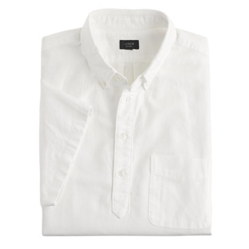 Short-sleeve popover shirt in vintage oxford cloth white