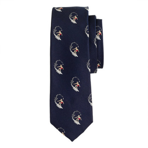 Silk tie with embroidered surfers oxford