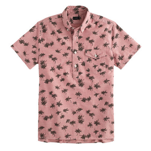 Short-sleeve chambray popover shirt in palm tree print ashen red
