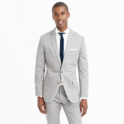 Ludlow suit jacket with double vent in Italian chino anchor grey