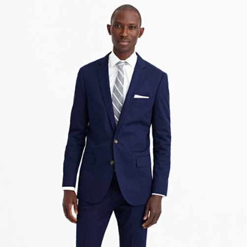 Ludlow suit jacket with double vent in Italian chino admiral blue