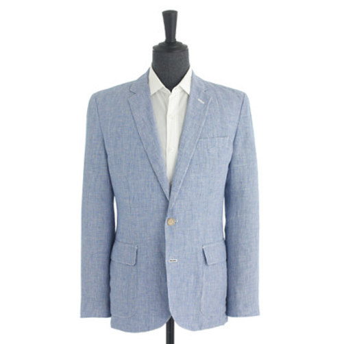 Ludlow sportcoat in houndstooth Italian linen royal white