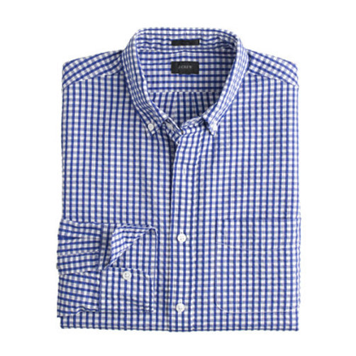 Seersucker shirt in estate blue gingham Regular estate blue