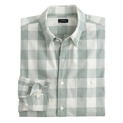 Jaspe cotton shirt in large gingham pale forest
