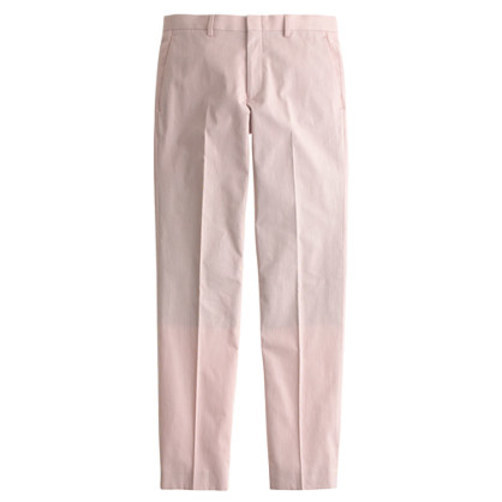 Ludlow suit pant in fine-striped cotton scarlet