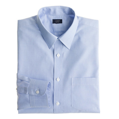 Ludlow Traveler shirt in end-on-end cotton oasis blue