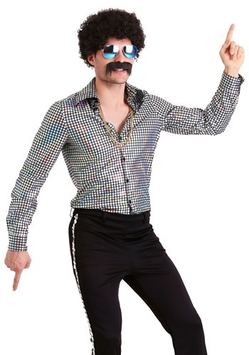 Men's 大きいサイズ ディスコ Ball Shirt ハロウィン メンズ コスプレ 衣装 男性 仮装 男性用 イベント パーティ ハロウィーン 学芸会 学園祭 学芸会 ショー お遊戯会 二次会 忘年会 新年会 歓迎会 送迎会 出し物 余興 誕生日 発表会 バレンタイン ホワイトデー