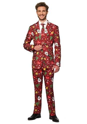 レッド Light Up Christmas Suitmeister Men's Suit ハロウィン メンズ コスプレ 衣装 男性 仮装 男性用 イベント パーティ ハロウィーン 学芸会 学園祭 学芸会 ショー お遊戯会 二次会 忘年会 新年会 歓迎会 送迎会 出し物 余興 誕生日 発表会 バレンタイン ホワイトデー