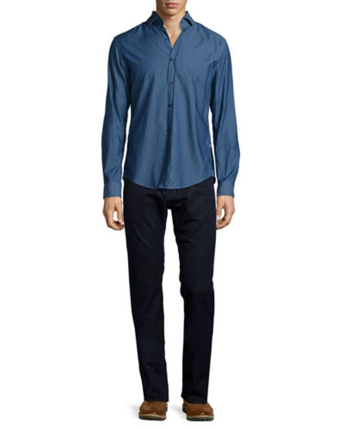 Mason Dobby-Weave Long-Sleeve Shirt, Blue