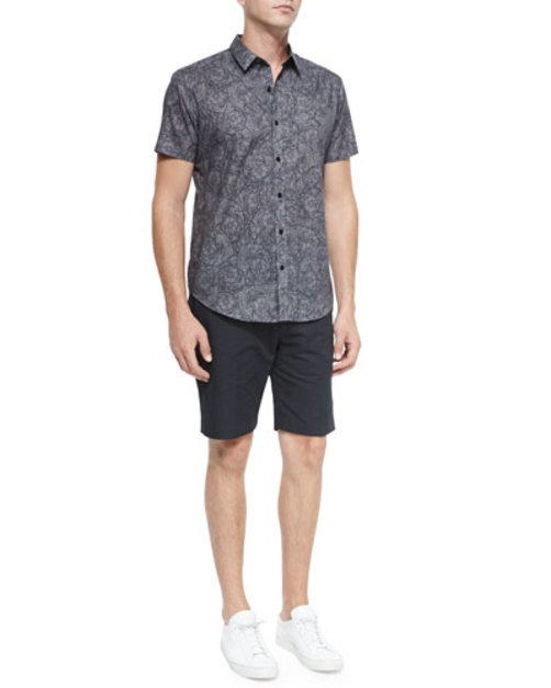 Squiggle-Print Short-Sleeve Woven Shirt, Gray Pattern