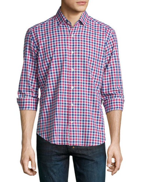 Plaid Woven Long-Sleeve Shirt, Multi