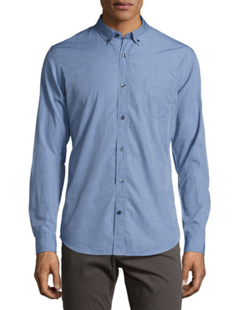 Chambray End-on-End Woven Shirt, Blue