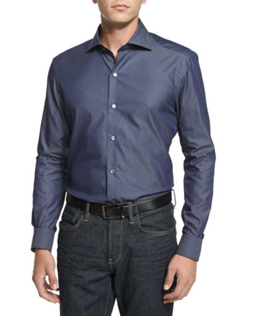 Solid Chambray Long-Sleeve Sport Shirt, Blue