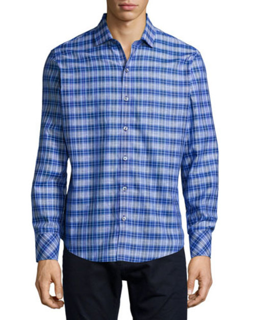 Plaid Long-Sleeve Woven Shirt, Blue
