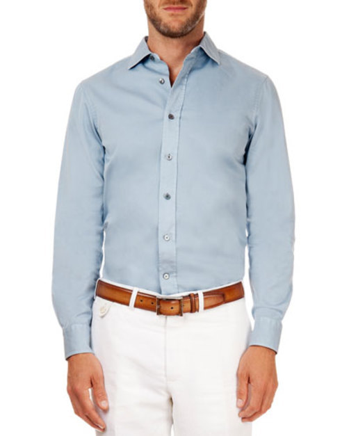 Button-Down Sky Shirt, Blue Solid