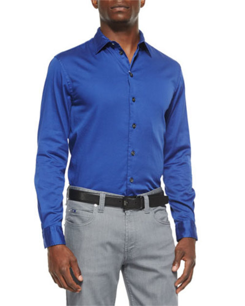 Solid Stretch-Poplin Sport Shirt, Cobalt
