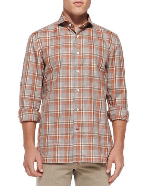 Plaid Woven Shirt, Brown