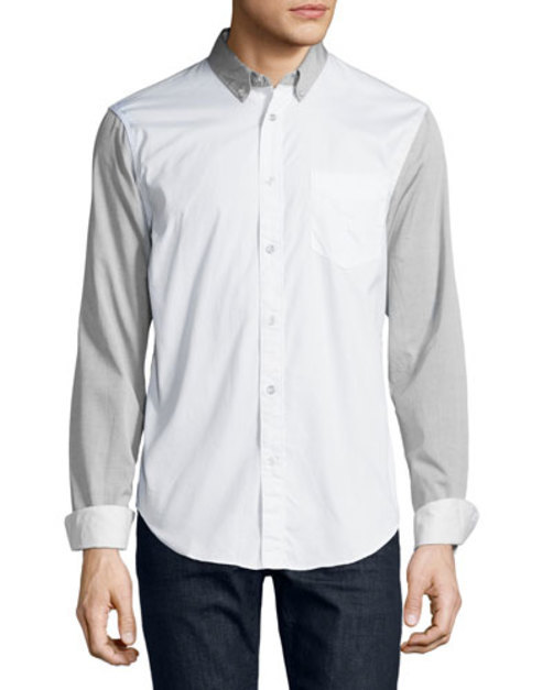 Colorblock Long-Sleeve Sport Shirt, White Pattern