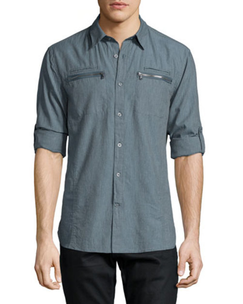 Double Zip-Pocket Woven Shirt, Blue