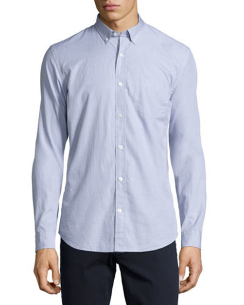 Solid End-on-End Woven Shirt, Gray:Mars shop