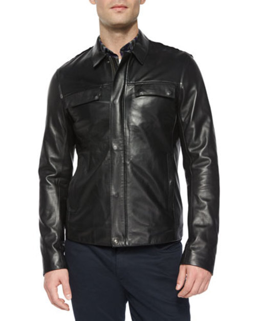 Raw-Edge Black Jacket, Leather