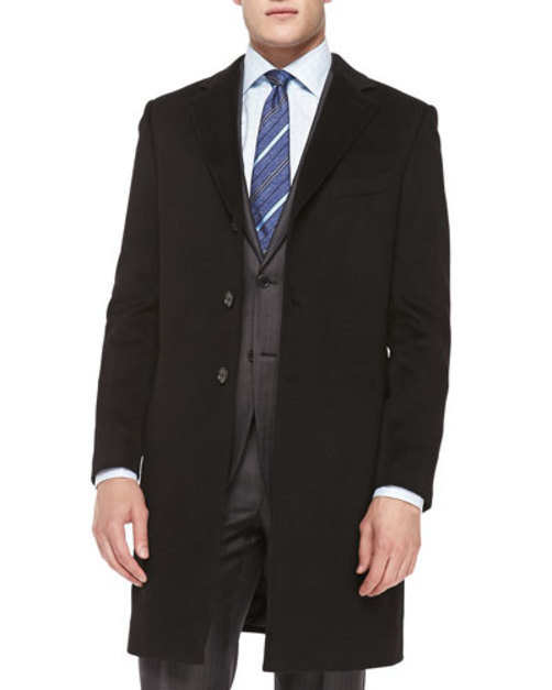 Cashmere Rainsystem Overcoat, Black