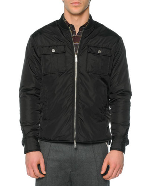 Leather Puffer Shirt Jacket, Black