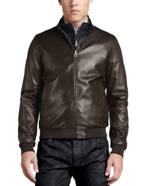 Reversible Leather to Nylon Bomber Jacket, Chocolate Navy