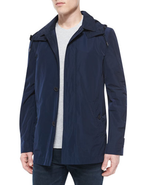 Nylon Navy Trenchcoat, Single-Breast