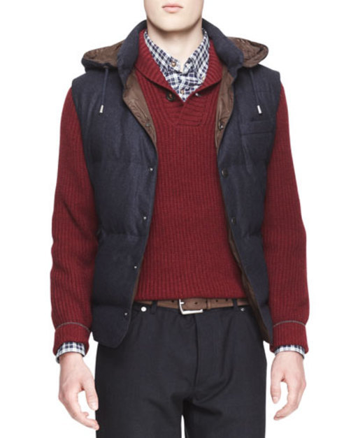 Hooded Flannel Puffer Vest