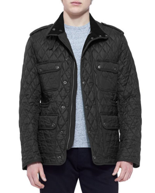 Leather-Trim Quilted Field Jacket