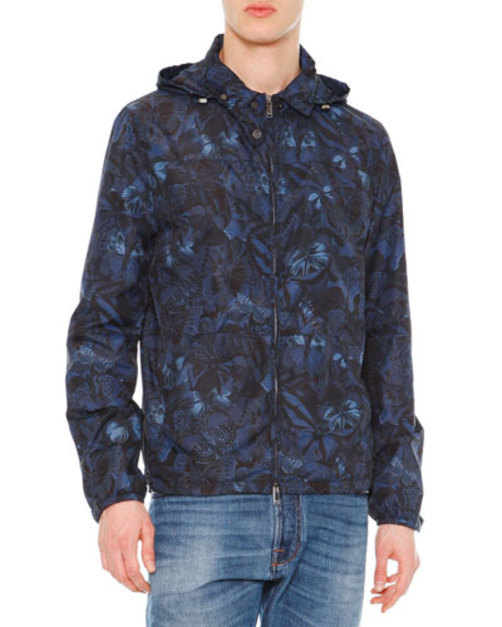 Camu Butterfly Print Nylon K-Way Jacket, Navy