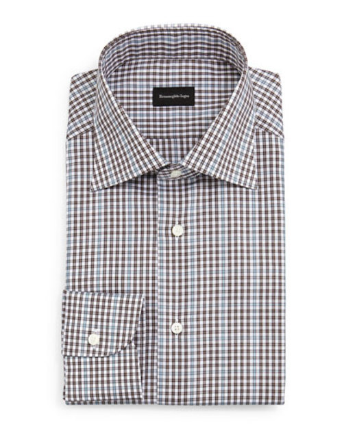 Check Dress Shirt, Light Blue Charcoal