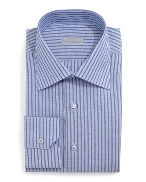 StripedWovenDressShirt,Blue