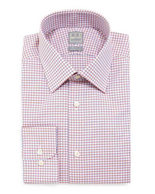 Shadow-Check Woven Dress Shirt, Blue Orange