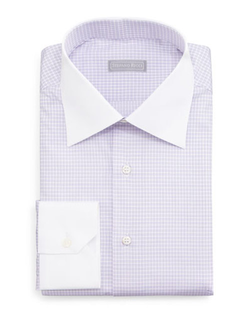 Contrast-Collar Check Dress Shirt, Lavender