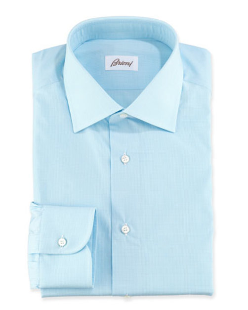 【本物新品保証】 Micro-Check Cotton Cotton Micro-Check Dress Shirt, Shirt, Aqua, 瓜連町:cfb4edb1 --- hectorgonzalezmoreno.com