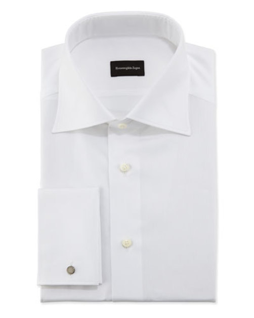Woven Rope Stripe Dress Shirt, White