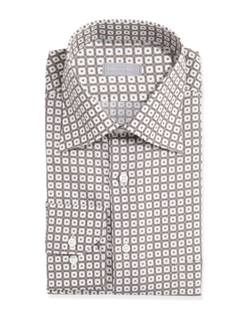 Small-Floral-Check Dress Shirt, White