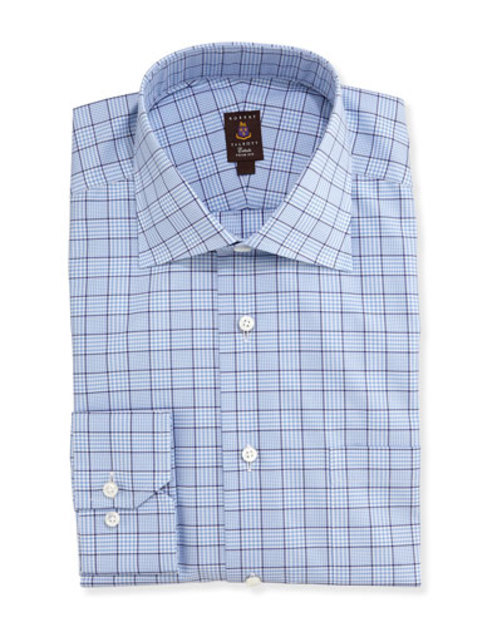 Glen Plaid Twill Trim Fit Dress Shirt, Blue Navy